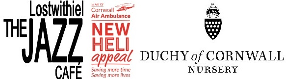 Lostwithiel Jazz Cafe, Heli Appeal and Duchy Nursery logos